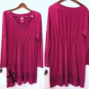 Ariat long sleeve embellished pink dress SZ L